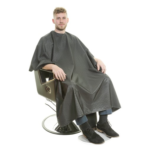 1130 - Executive Barber Cape - Stud Neck - Black