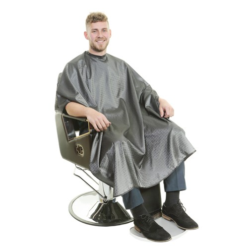 1131 - Executive Barber Cape - Stud Neck - Grey