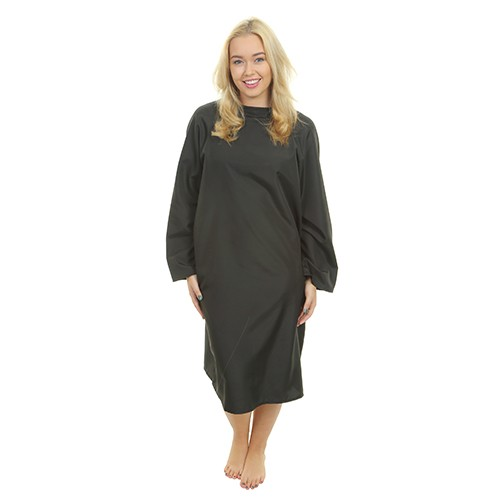 1600 - Florence Sleeved Gown - Tie Neck - Black
