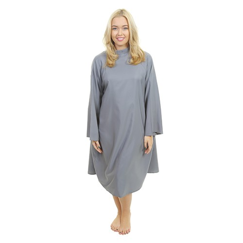 1601 - Florence Sleeved Gown - Tie Neck - Grey