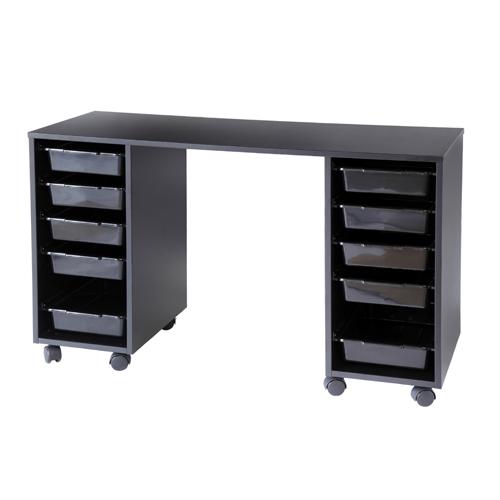 Paris eko double sided nail desk manicure table crewe for Black nail desk